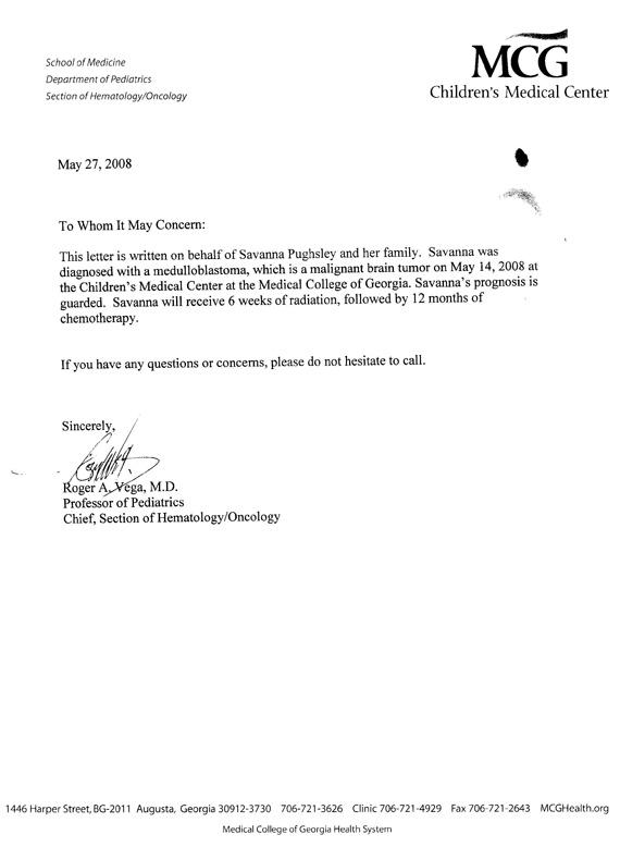 Princess-Savanna.com - Savanna's Prognosis Letter